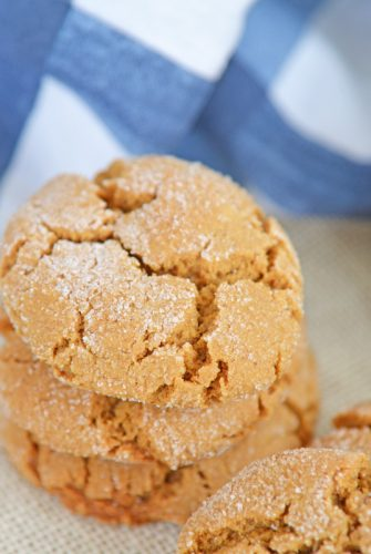 stack of soft molasses cookies