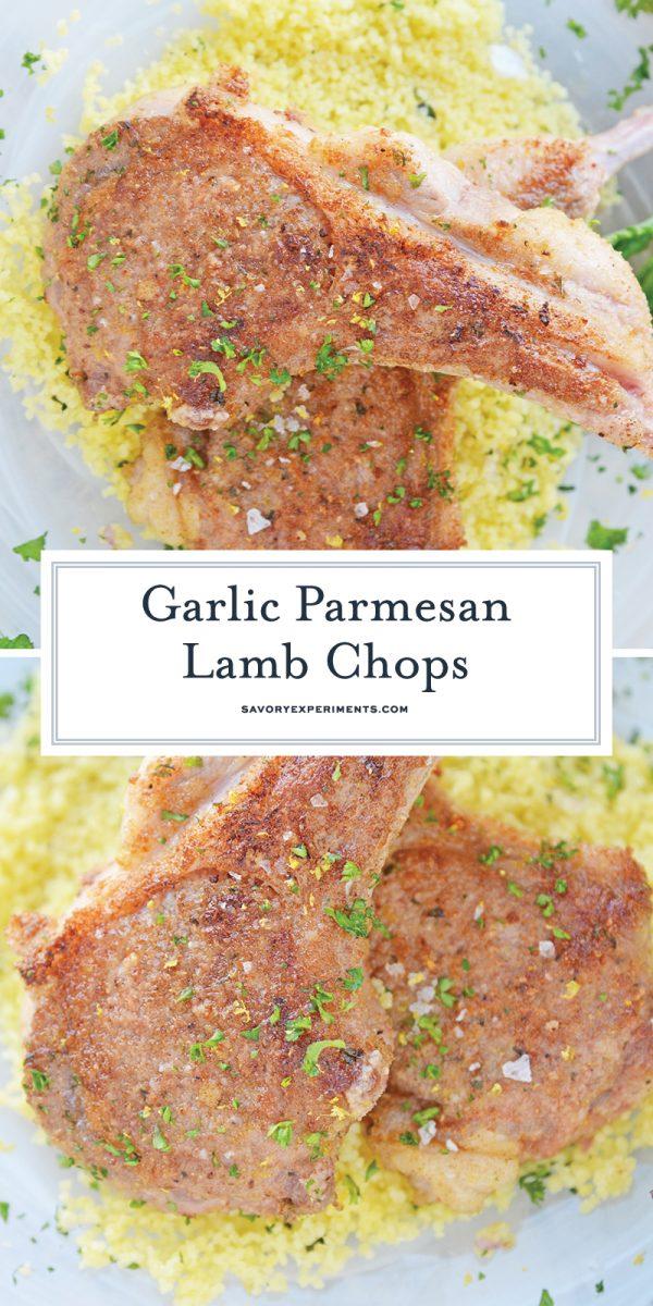close up of pan seared lamb chops