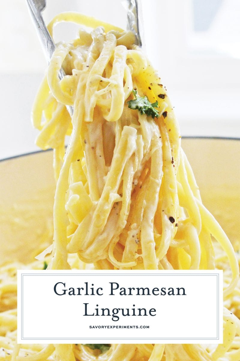 tongs tossing a parmesan garlic linguine