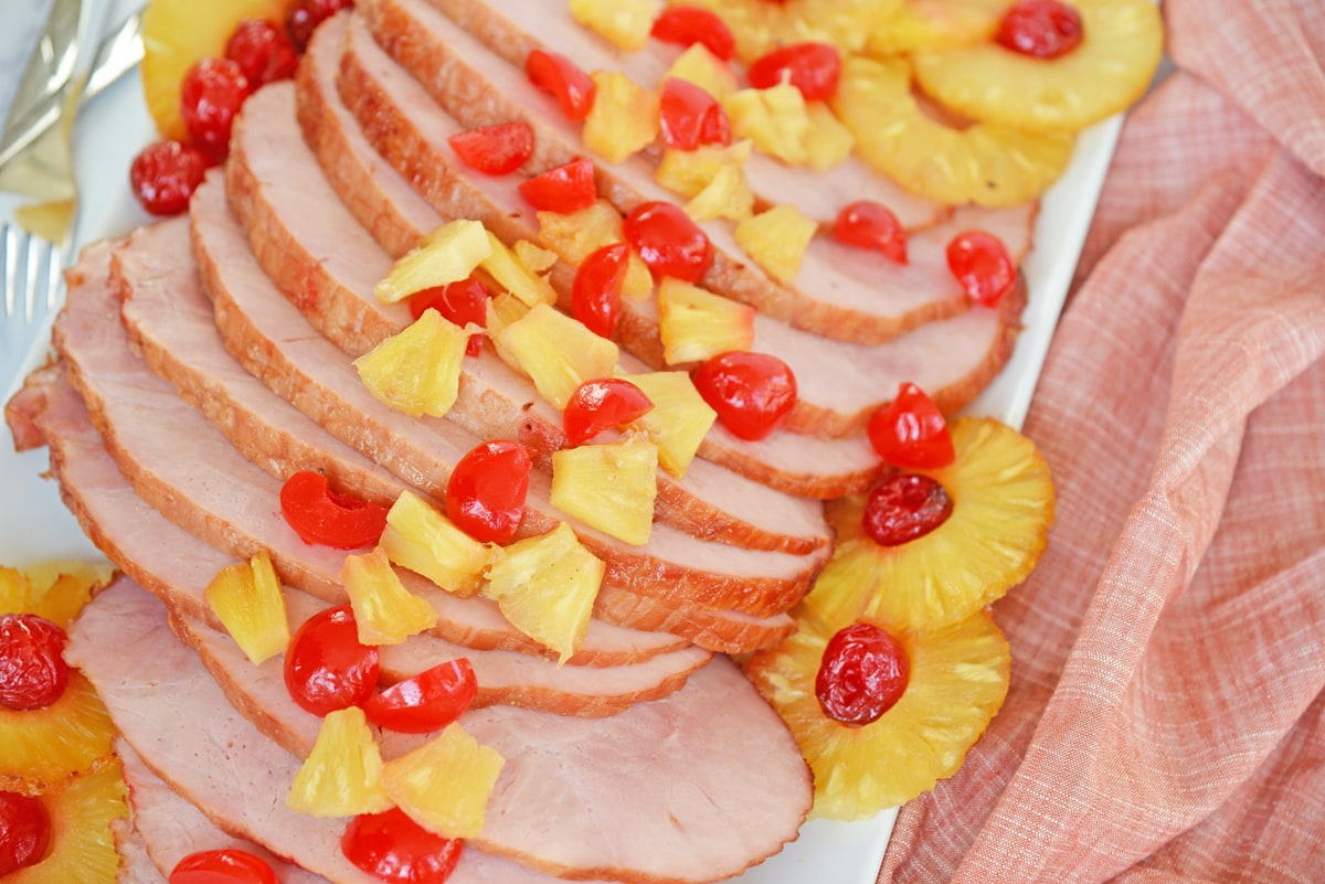 sliced ham on a serving platter