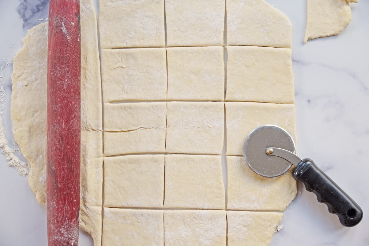cutting dough into squares