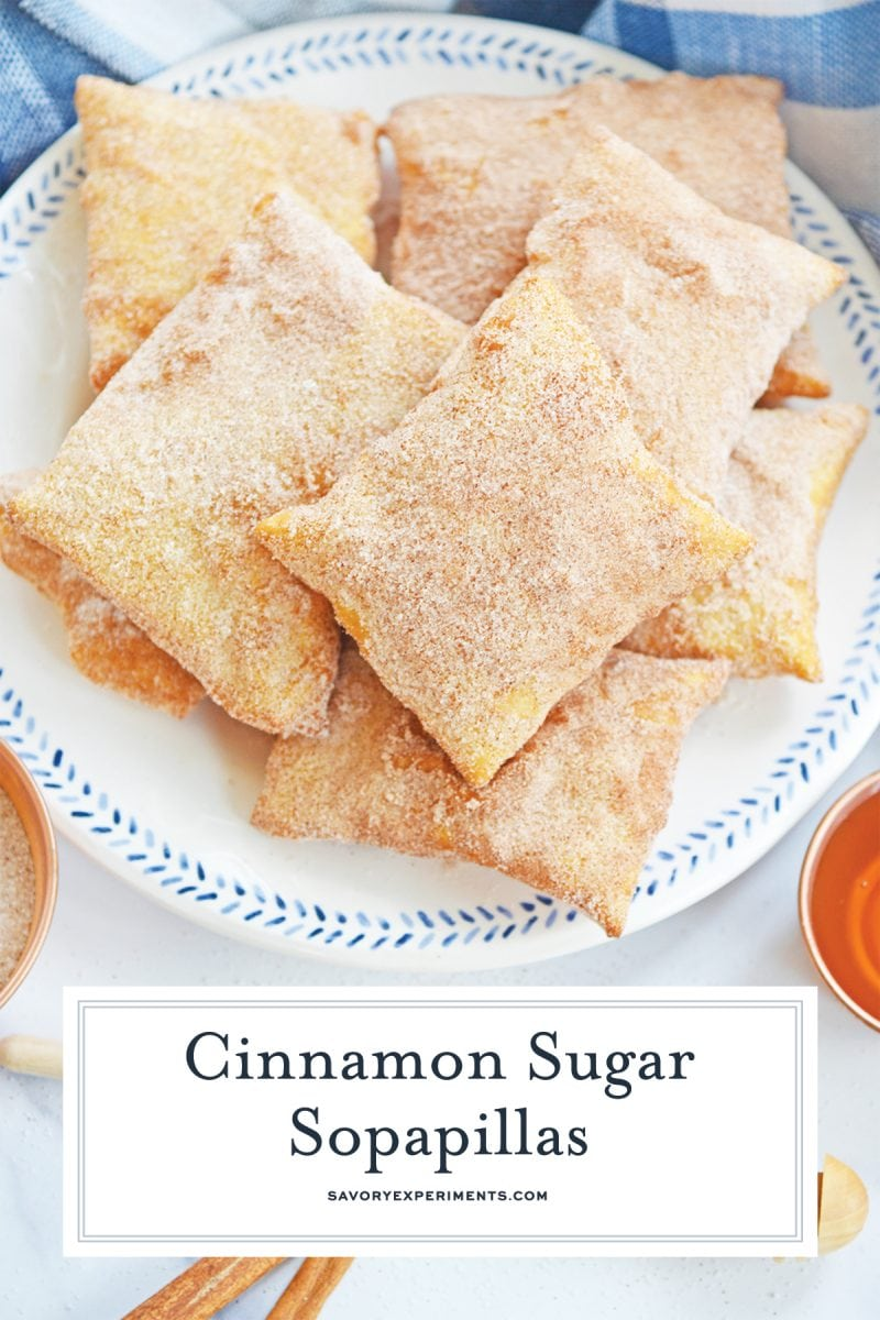 Made with simple pantry ingredients, these Homemade Sopapillas are light, crispy, rolled in cinnamon sugar and dipped in sweet honey! #homemadesopapillas #sopapillasrecipe www.savoryexperiments.com