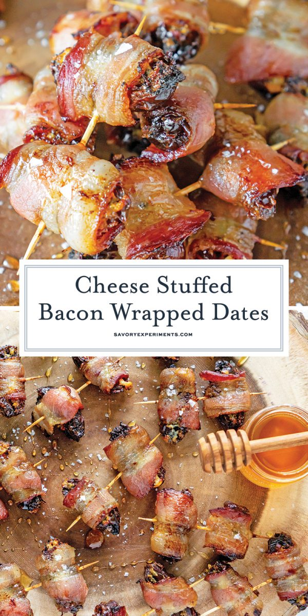 cheese stuffed bacon wrapped dates for pinterest