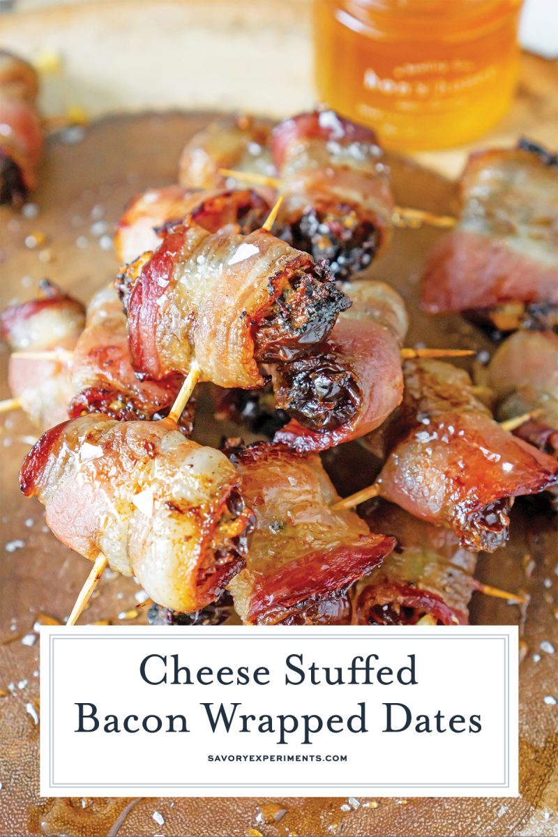 close up of bacon wrapped dates