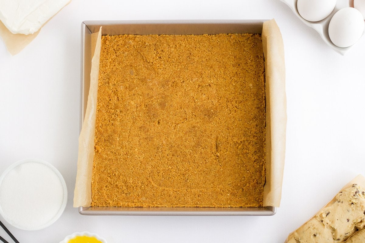graham cracker crust in a 9x9 square baking dish