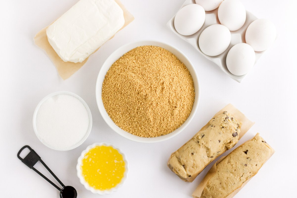 ingredients for chocolate chip cookie cheesecake bars