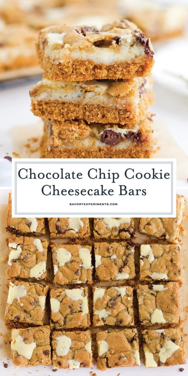 chocolate chip cheesecake bars in a stack