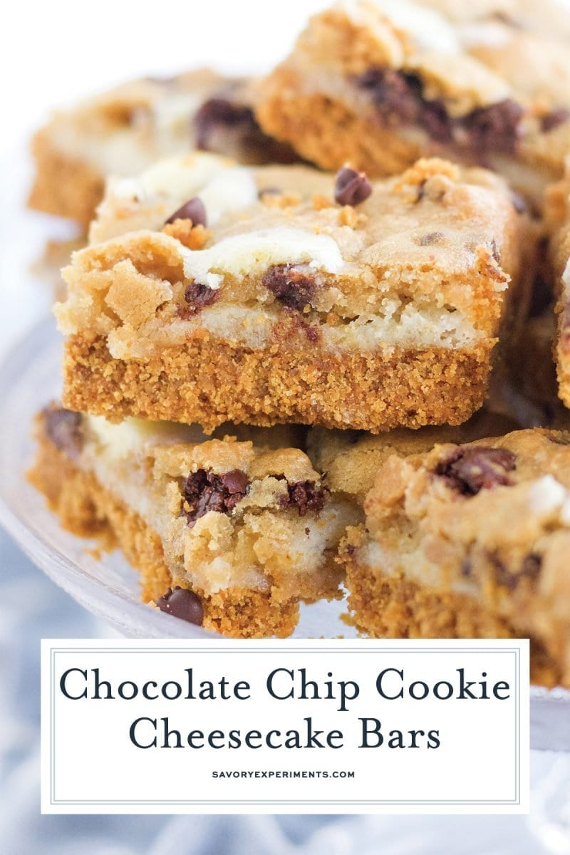 close up of chocolate chip cookie cheesecake bar