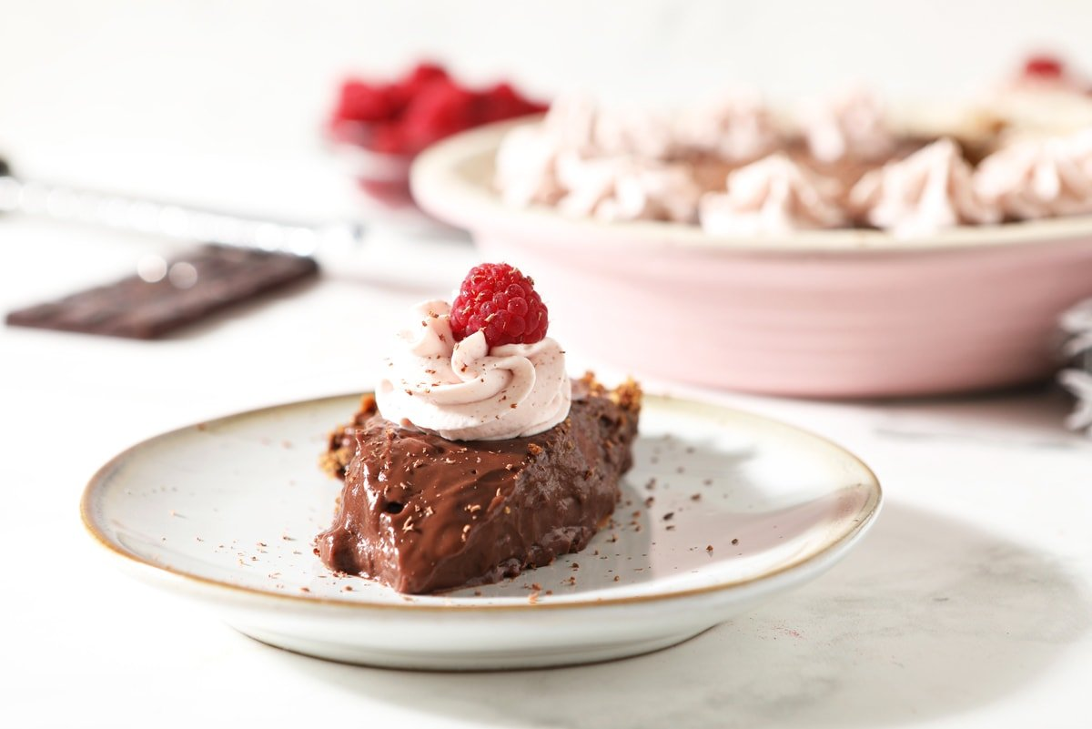chocolate pie on a plate