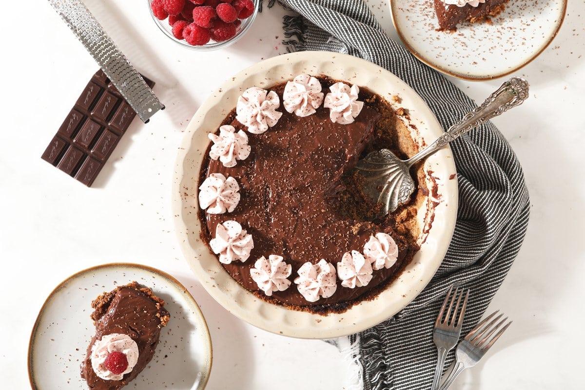 overhead of chocolate pudding pie
