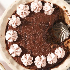 overhead of chocolate pudding pie