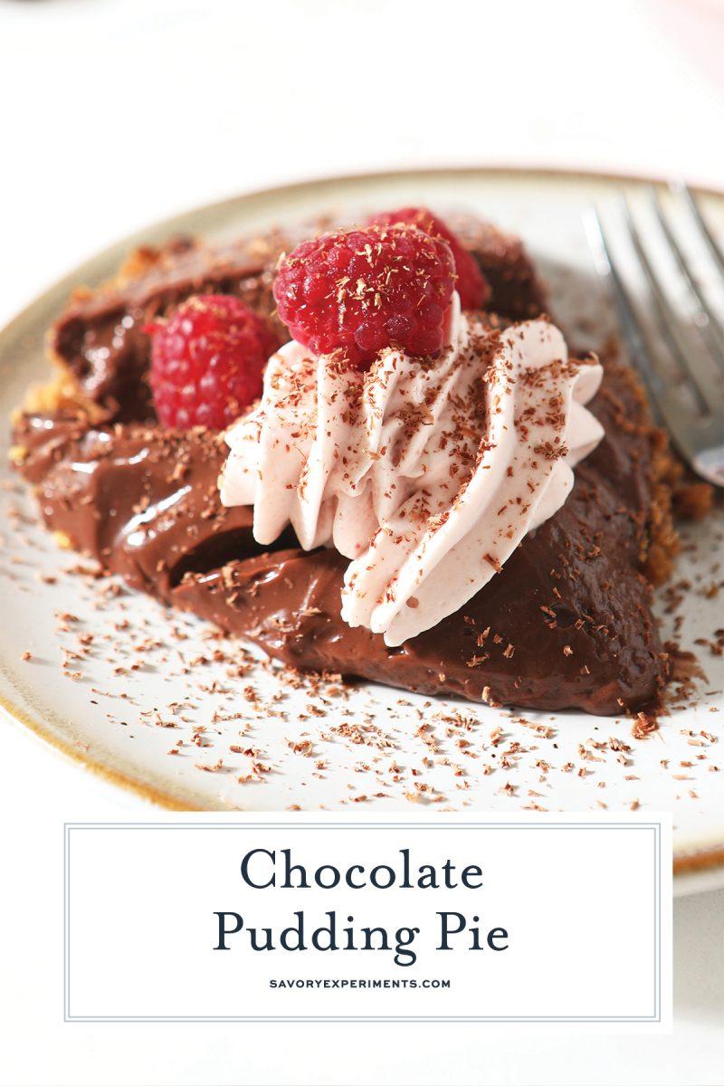 slice of chocolate pie for pinterest
