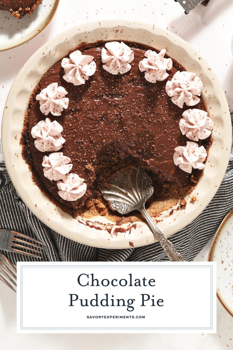 homemade chocolate pie with strawberry whipped cream