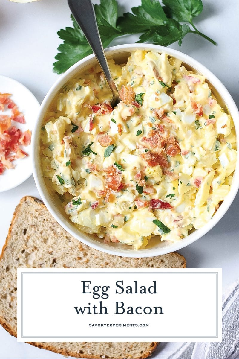 close up of egg salad with bacon