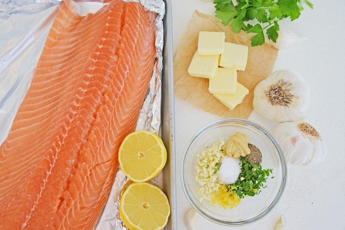 ingredients for garlic butter salmon
