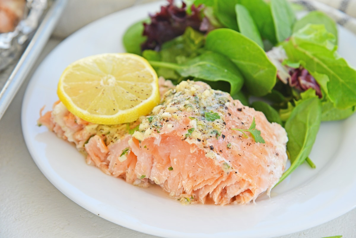 slice of salmon on a serving plate