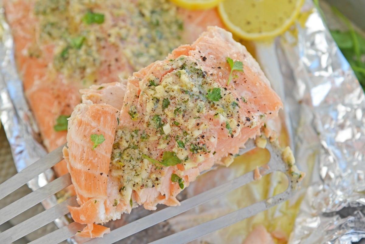 baked salmon on a spatula