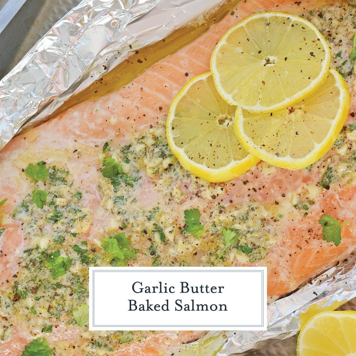 close up of salmon fillet in garlic butter sauce