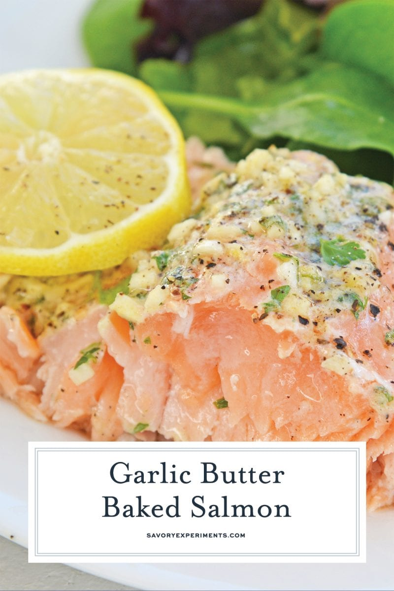 close up of garlic butter baked salmon for pinterest