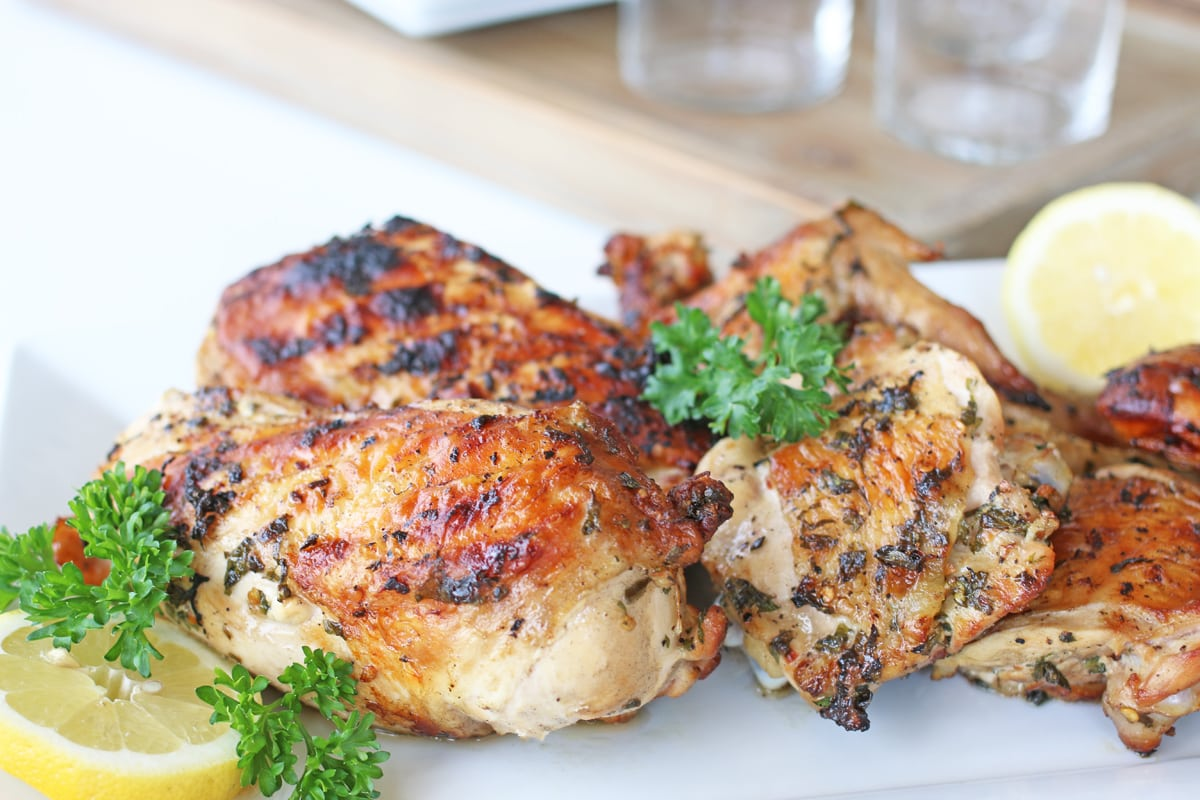 angle view of marinated and grilled chicken pieces