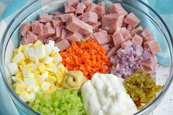 ham salad ingredients in a mixing bowl