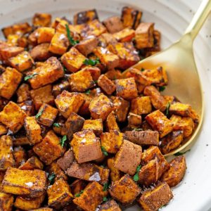 close up of roasted sweet potatoes