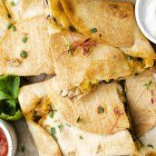 close up of chicken quesadillas
