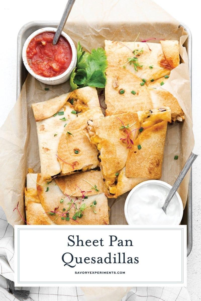 quesadillas on a sheet pan