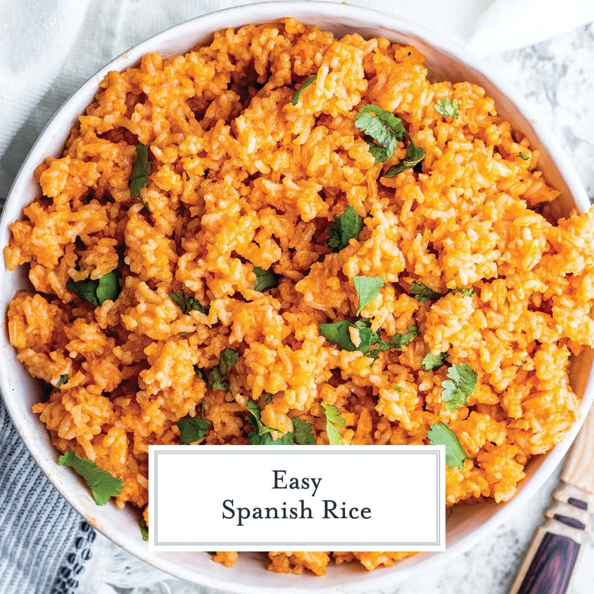 close up bowl of spanish rice topped with fresh cilantro