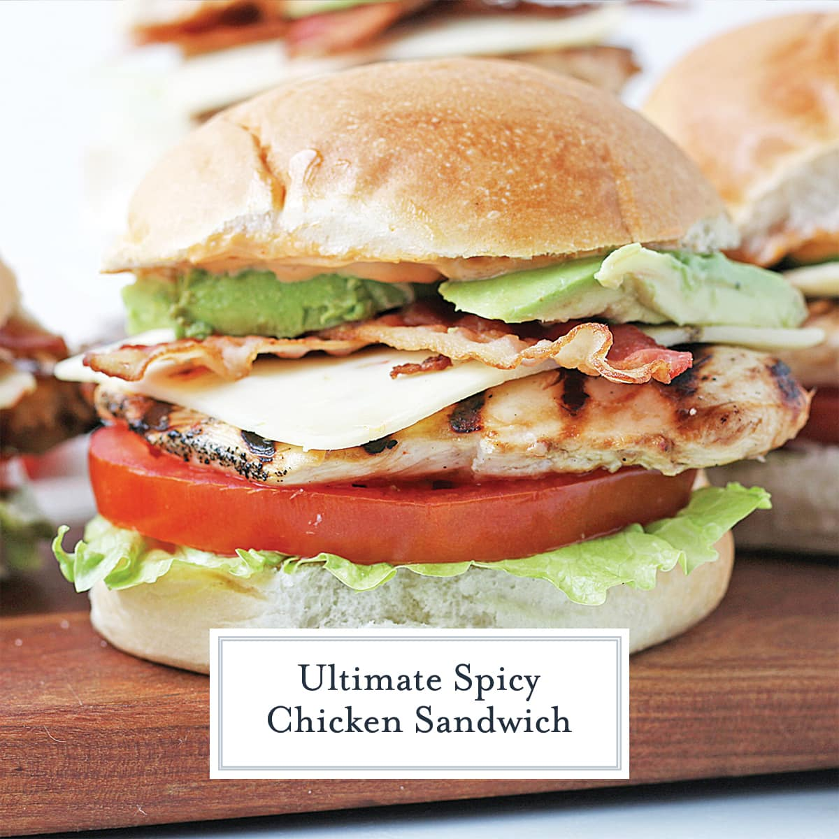 close up side view of grilled chicken sandwich