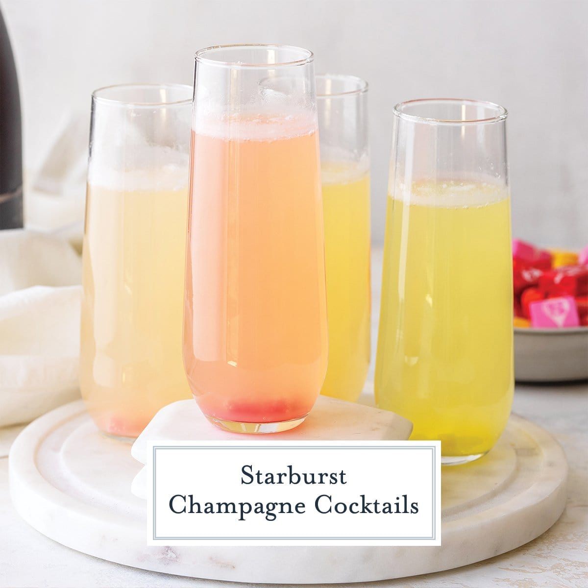 fruity and colorful champagne cocktails