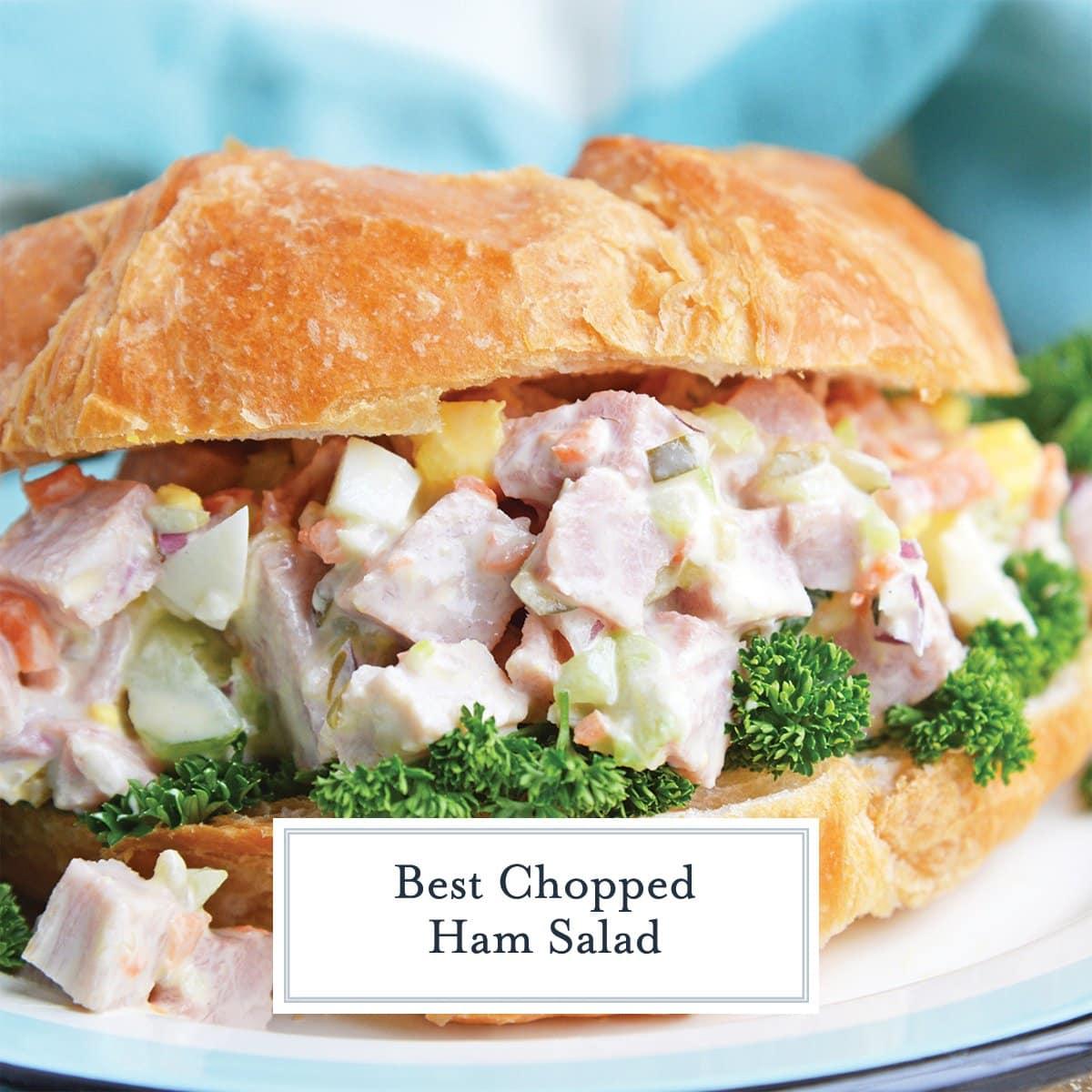 close up of ham salad sandwich