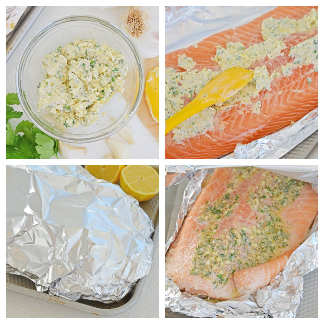 slathering salmon in butter - step by step images of how to bake salmon in aluminum foil