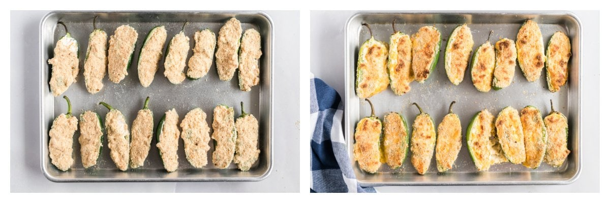raw and baked jalapenos poppers side by side