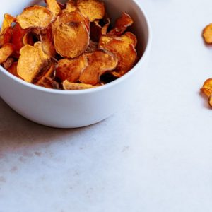 sweet potato chips in a blue bowl