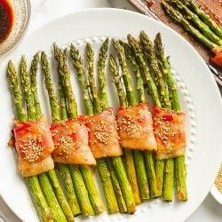 overhead of bacon wrapped asparagus