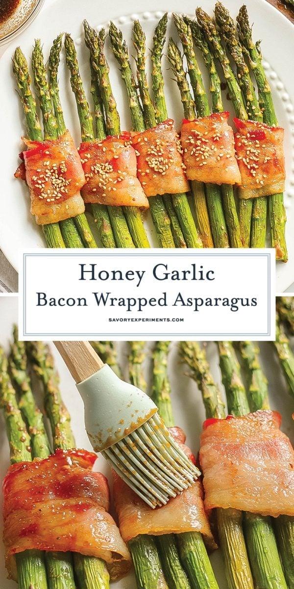 honey garlic bacon wrapped asparagus for pinterest