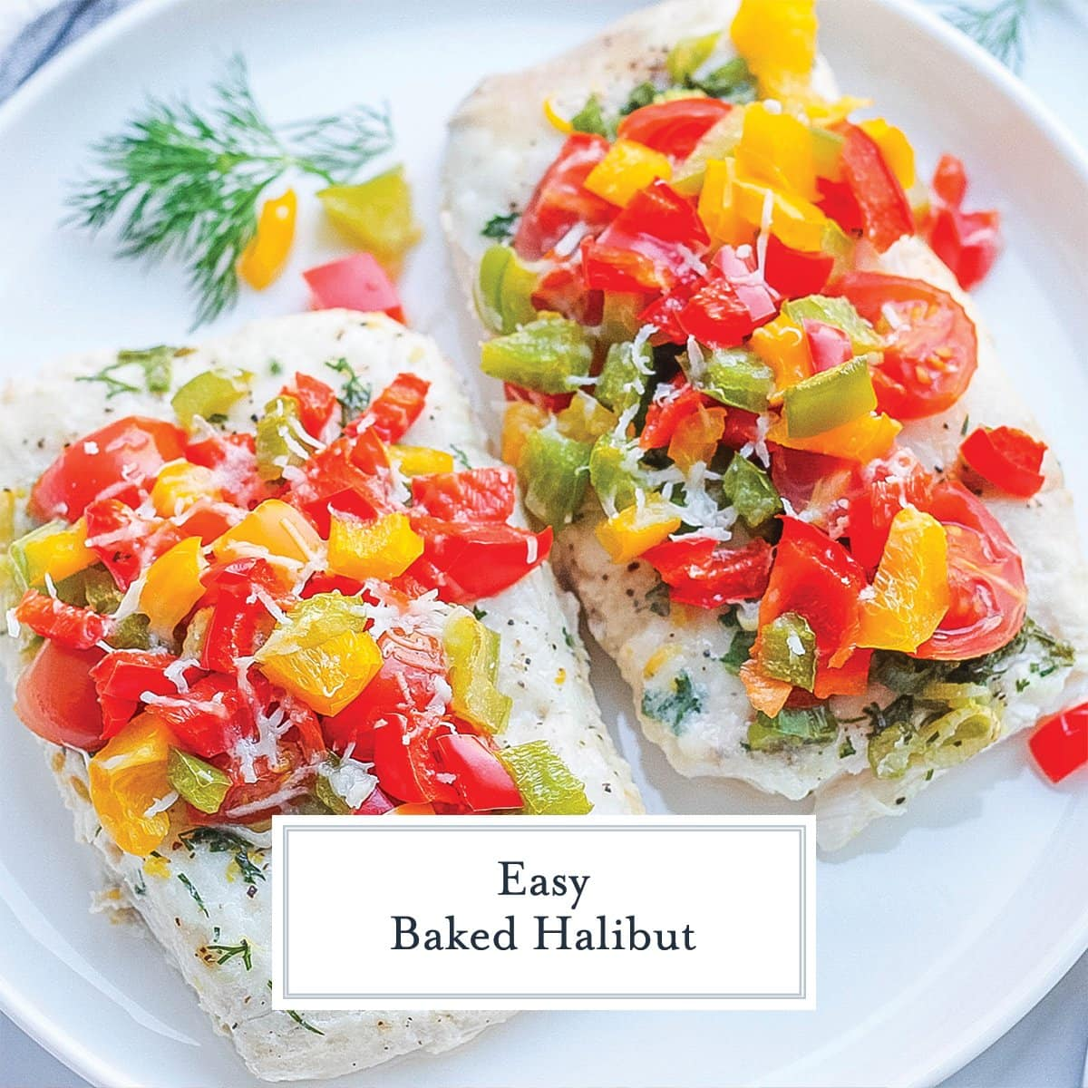 close up angle of baked halibut with veggies