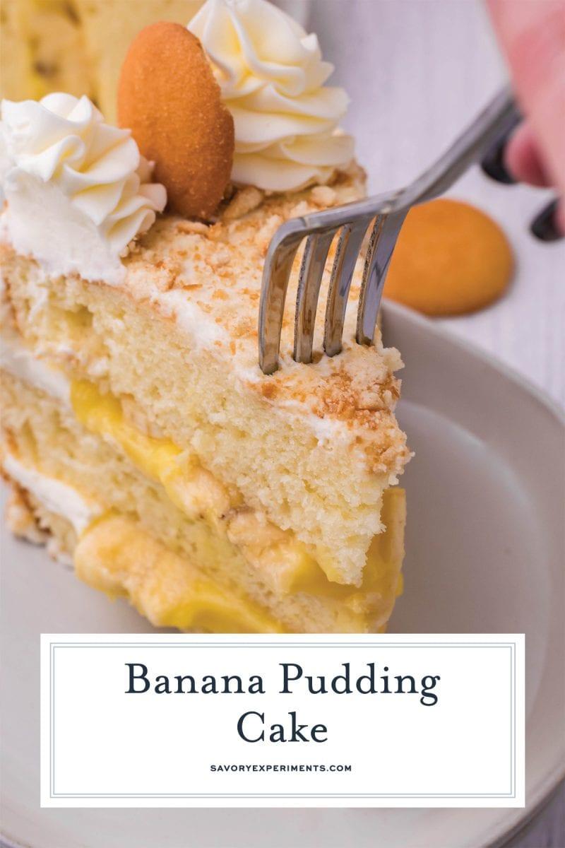 close up of fork digging into banana cake