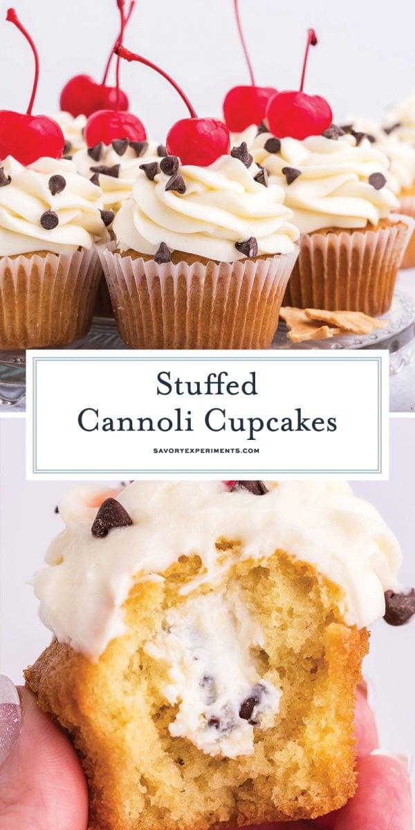stuffed cannoli cupcake for pinterest