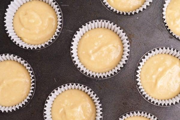 cake batter in muffin tin