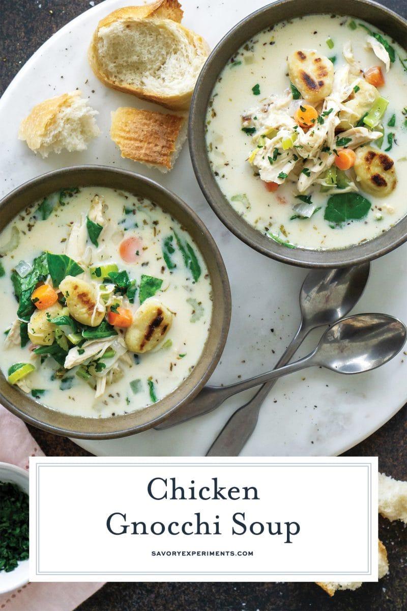 bowls of creamy gnocchi soup for pinterest