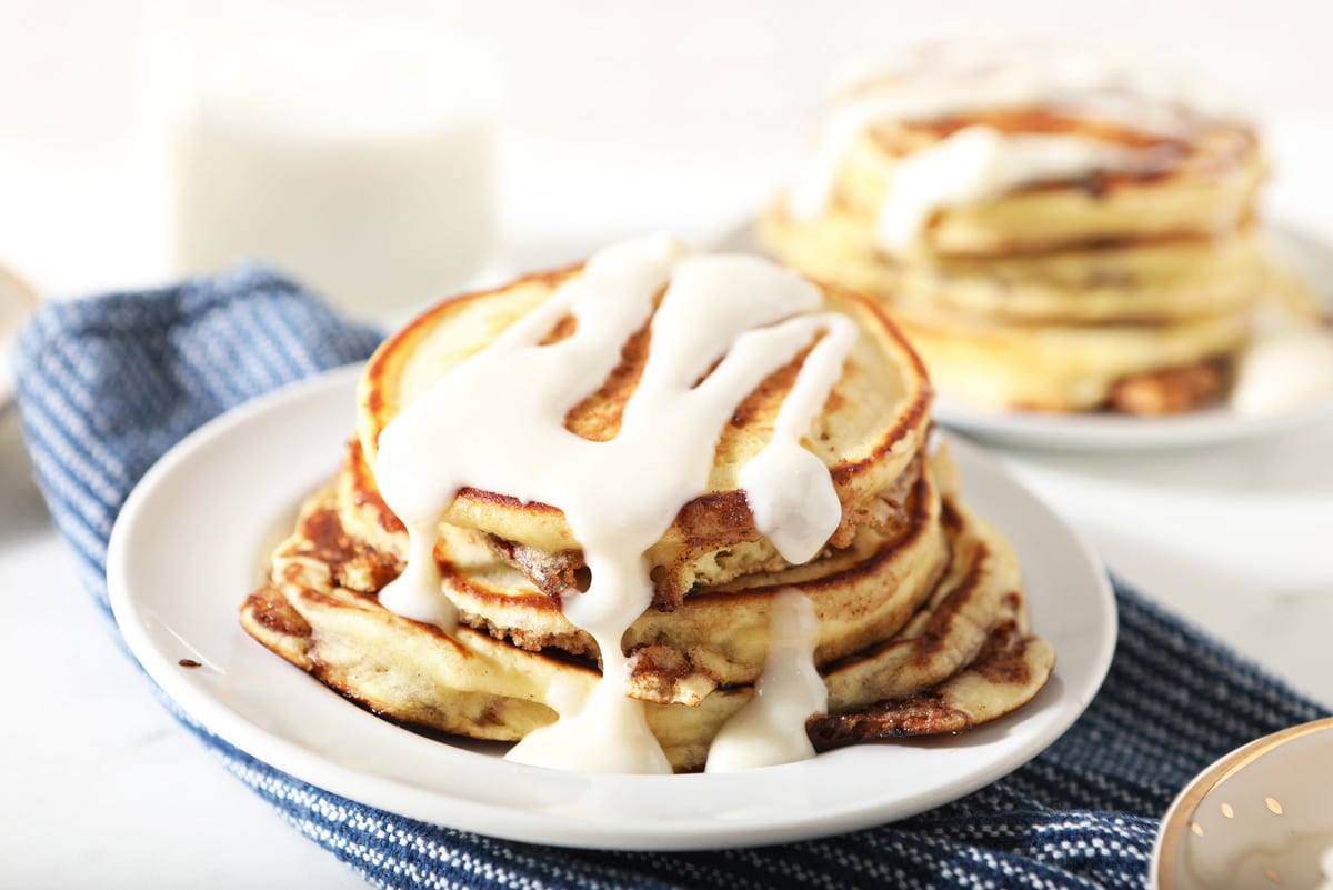 cinnamon pancakes with cream cheese icing