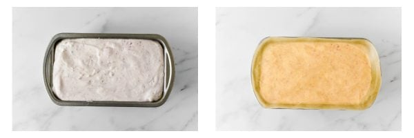 ice cream in a loaf pan with parchment paper