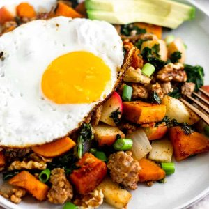 fried egg over hash