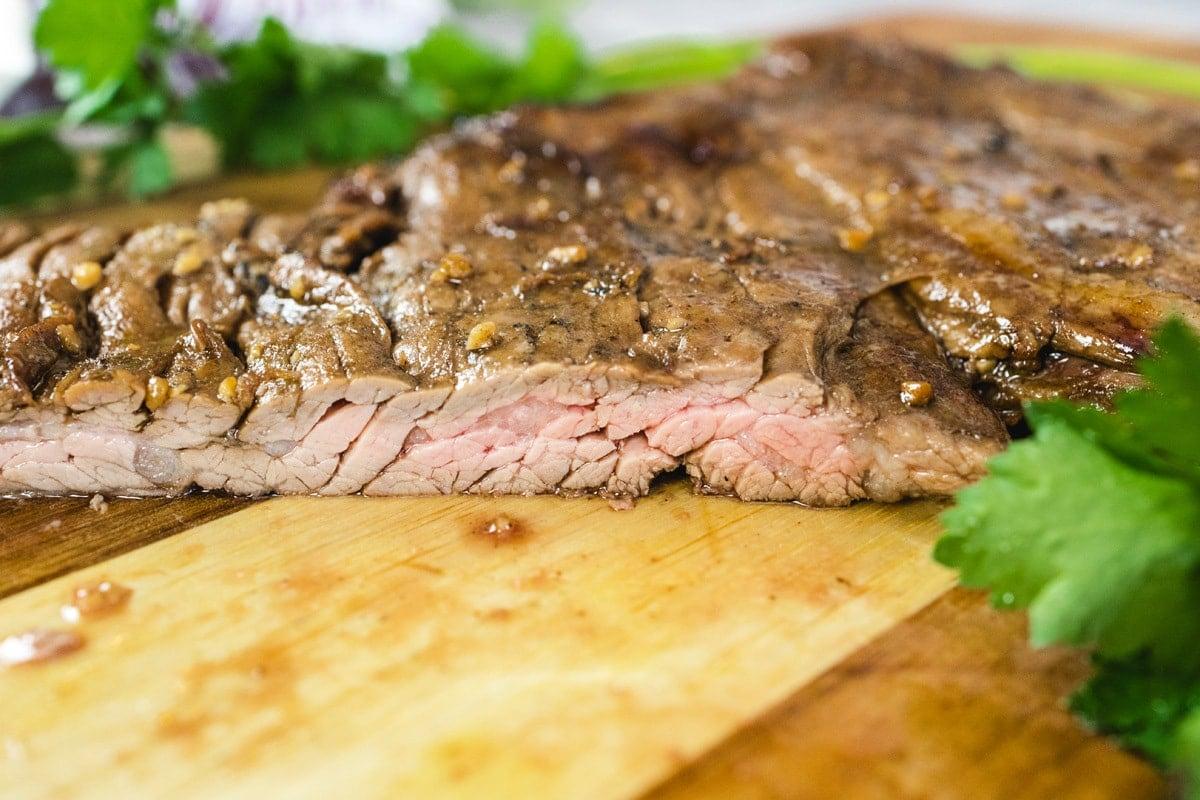 side view of cut skirt steak