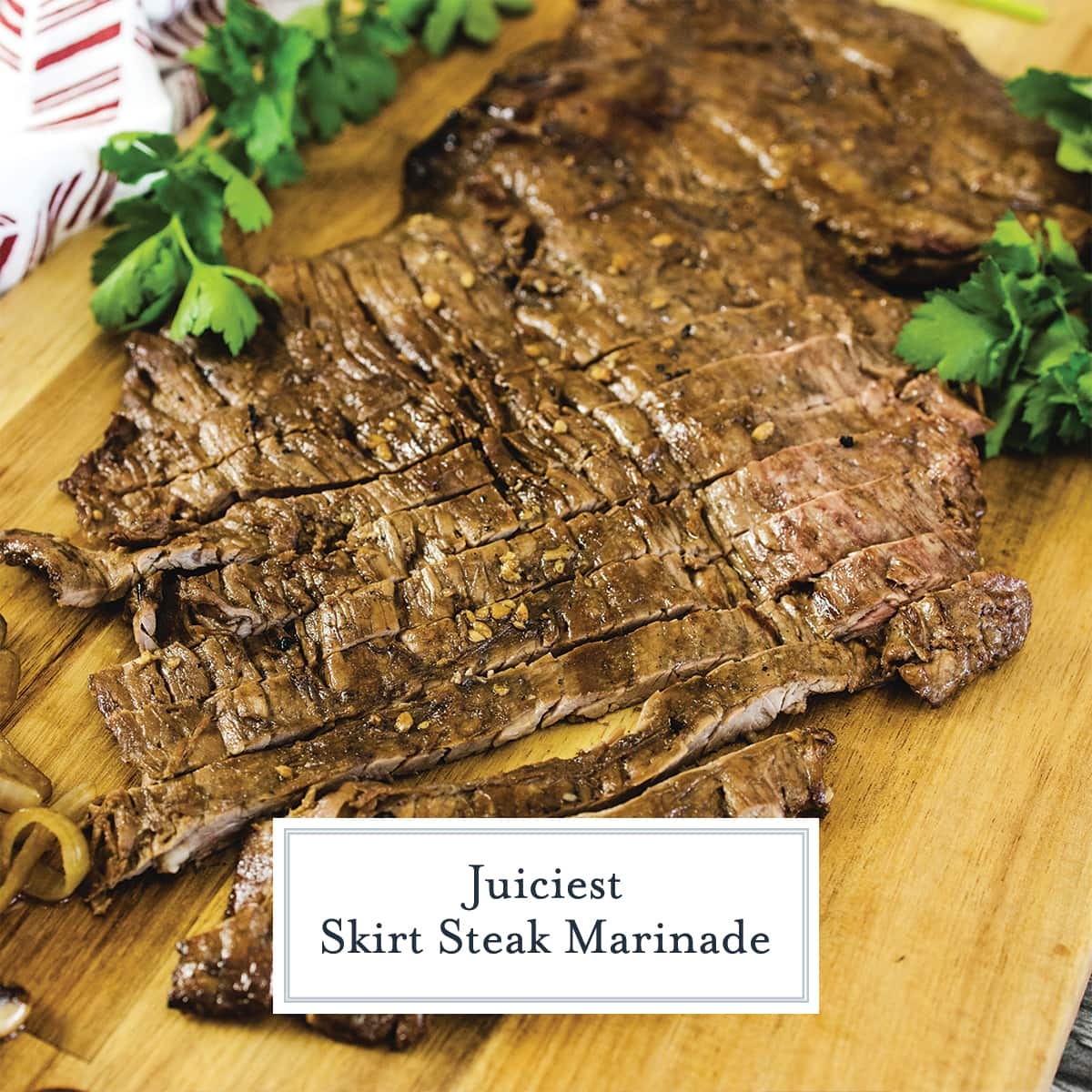 grilled skirt steak on a cutting board