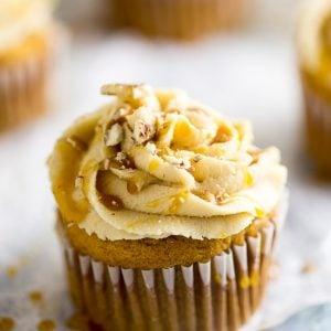 close up of sweet potato pecan cupcakes