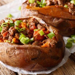 close up of sloppy joe stuffed sweet potatoes