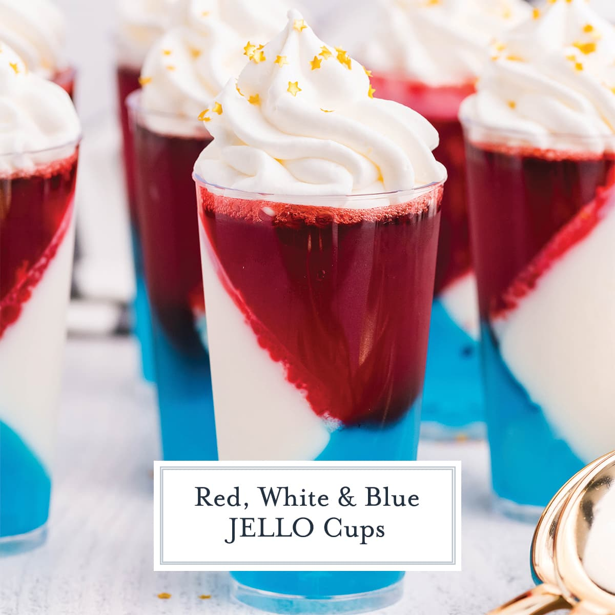 close up of patriotic jello cups with gold stars